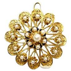 Elegant Vintage 14K Yellow Gold Cultured Pearl Filigree Brooch Pendant 13.2 grams