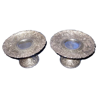 Rare Pair of  Tiffany & Co. Sterling Silver Compote Stand with Repousse Fern Floral Motif