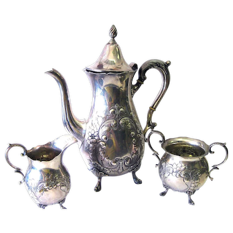 Antique Sterling Silver Teapot Creamer Sugar Floral Design by Durham