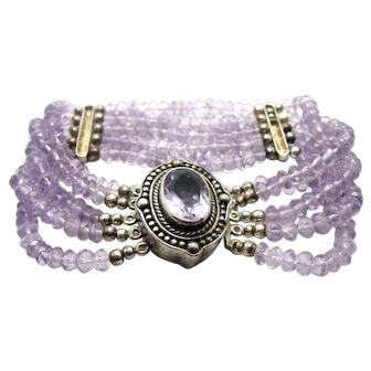 "Stunning Vintage Bracelet Sterling Silver with Light Purple Amethyst Beads 7"""