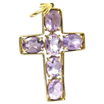 Vintage 14K Yellow Gold Cross with Amethyst Gemstone Crystals 5.2gr