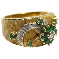Ladies Vintage Ring 14K Yellow Gold Band with Emeralds and Diamonds Size 6.5