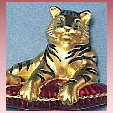 Figural Signed Bob Mackie Bengal Tiger on Reticulated Tassel Pillow Brooch ~ Mint!