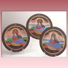 "Set of (3) Satsuma 7 1/4"" Plates with Moriage"