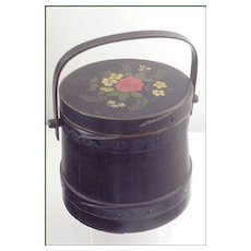 Folk Art Wooden Ware Covered & Handled Firkin ~ Original Black Paint with Hand-Painted  Rose