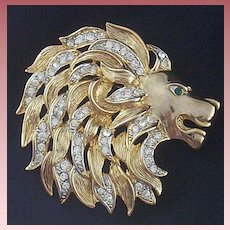 Signed Craft ~ Majestic King-of-the-Jungle Brooch