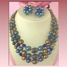 Signed Japan Triple-Strand Plastic & Glass Teal & Metallic-Bronze Necklace & Ear Clips Set