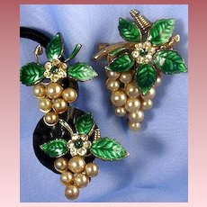 Circa 50's CORO (script) Grapes Simulated Pearl & Enameled Brooch & Earrings Demi
