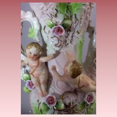 Capodimonte Ewer-Vase with Dimensional Flying Cherub & Pink Roses