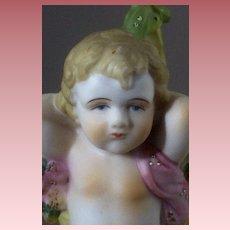 Vintage Ardalt Lenwile Bisque Cherub Putti Figurine with  Basket Roses