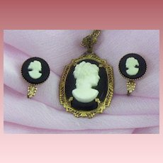 Lovely Art Deco Era Prong-Set Cameo Pendant & Earrings Set
