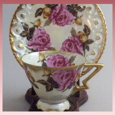 Vintage Royal Sealey Pink Roses & Lusterware China Teacup Set