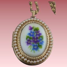 Avon Sweet Violets Picture-Locket with Imitation Seed Pearls