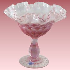 Fenton Pink Thumb-Print Ruffled & Crimped Footed Compote