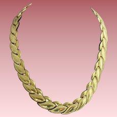 Vintage Signed Monet Sophisticated Leaf-Link Collar Necklace