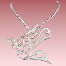 Vintage Signed Reed & Barton Pewter Openwork Figural Dove Necklace