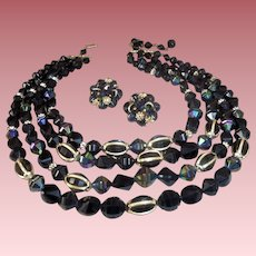 Vintage West Germany 4-Strand Waterfall Necklace with Caged Beads &  Ear Clips Set