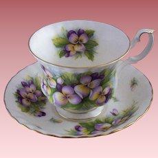 Vintage E & R (England) Bone China Teacup & Saucer Set with Violets