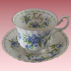 """Vintage Royal Albert """"July"""" Teacup & Saucer Set with Forget-Me-Nots"""