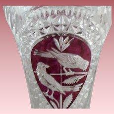"Large 10"" Crystal & Ruby-Flash Hofbauer (Germany) Byrdes Floral Vase"