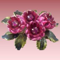 Vintage CORO (in script) Figural Enameled Rose Cluster & Prong-Set Glass Stones