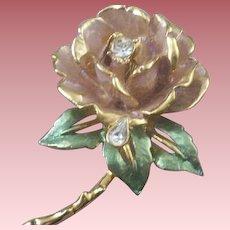 Vintage R. J. Graziano England's Rose (Princess Diana) Enameled & Rhinestone Brooch