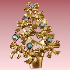 Vintage Signed Avon Bow & Aurora Borealis Christmas Tree Pin (Book Piece)