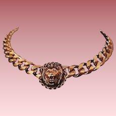 Vintage Anne Klein Couture-Style Lion-Head Logo Collar Necklace ~ Pendant