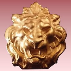Vintage Anne Klein Figural Lion Brooch & Door-Knocker Earring Set