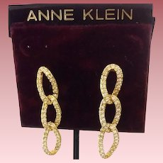 Vintage Anne Klein Pave' Rhinestone Drop Earrings - 18K Gold-Filled Posts - Original Card & Price