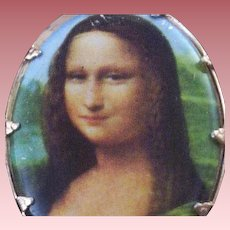 "Vintage Transfer Image ""Mona Lisa"" Brooch with Older C-Clasp"