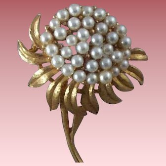 """Vintage Floral Brooch Lavished with Dozens of Simulated-Pearl """"Seeds"""""""