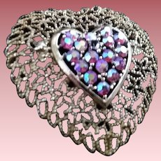 Romantic Openwork Heart Brooch-Pin with Rhinestone Aurora Heart Inset