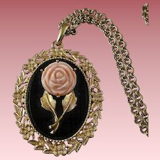 Avon SERENA ROSE Enameled & Rose Pendant with Reversible Mirror & Chain ~ 1970's