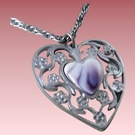Signed Reed & Barton Pewter & Porcelain Heart Necklace ~ Pendant