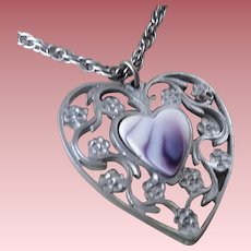 Signed Reed & Barton Pewter & Porcelain Heart Necklace ~ Pendant