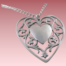 Vintage Signed Reed & Barton Oversized & Openwork Pewter Heart Necklace ~ Pendant