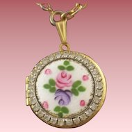 Vintage Guilloche Enameled & Rhinestone Pink Rose Locket-Pendant WITH FREE BONUS