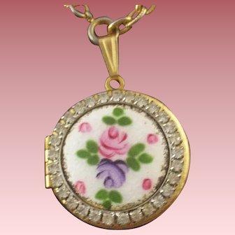 Vintage Guilloche Enameled & Rhinestone Pink Rose Locket-Pendant WITH FREE BONUS