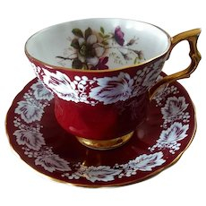 Vintage Royal Albert Fine Bone China Burgundy Floral Teacup ~ England & Numbered