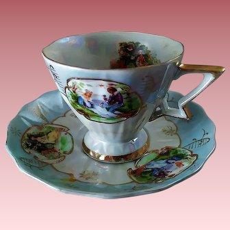 Vintage Lefton Bone China Hand-Painted Romantic Courtship Teacup & Saucer Set ~ Reg.  & Numbered