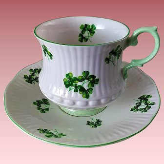 Queen's (Rosina) England Fine Bone China Shamrock Teacup Set with FREE BONUS