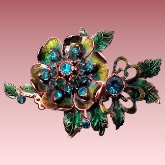 Vintage Signed Monet Enameled & Rhinestone Dimensional Floral-Spray Brooch