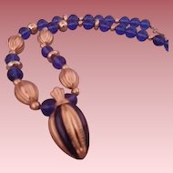 "Vintage Signed Avon ""Blue Seas"" Translucent Beaded & Enameled Necklace ~ Pendant"