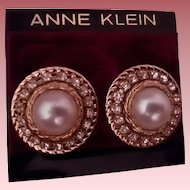 Dramatic Anne Klein Simulated Pearl & Rhinestone Pierced Earrings
