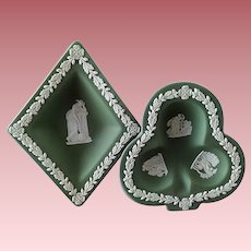 Set of (2) Wedgewood Jasperware Sage-Green Trinket Dishes with Grecian Figures (England)