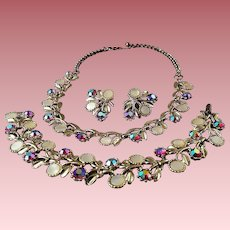 Vintage 3-Piece Rhinestone & Enameled Floral Parure Set ~ Necklace, Bracelet & Earrings