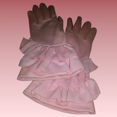Vintage Pink Gauntlet & Ruffled Ladies Gloves