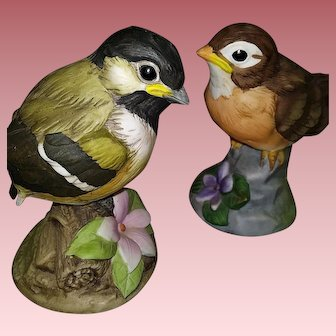 Andrea by Sadek Pair of Chickadee and Robin Porcelain Figurines