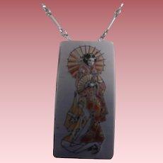 """Vintage Damascene Necklace with """"Geisha"""" Girl ~ Style Pendant"""